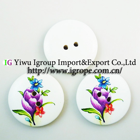 30MM wooden purple flowers painting buttons 20PCS boots coat sewing clothes accessories 464-MCB