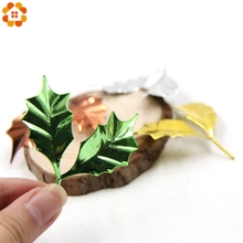 12PCS Gold Silver Leaf Blades Simulation Plastic Plating Leaves Artificial Flower Accessories For Christmas DIY Craft Decoration