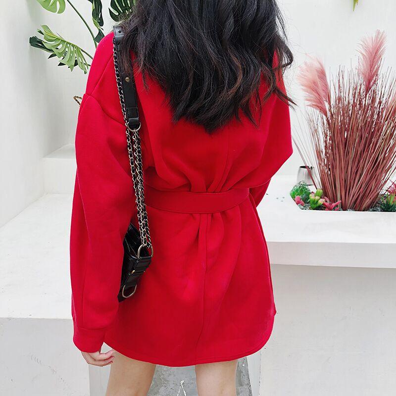 5e77319ed74263 Acheter Coréenne Solide Longueur Au Genou Automne Femmes Robes ...
