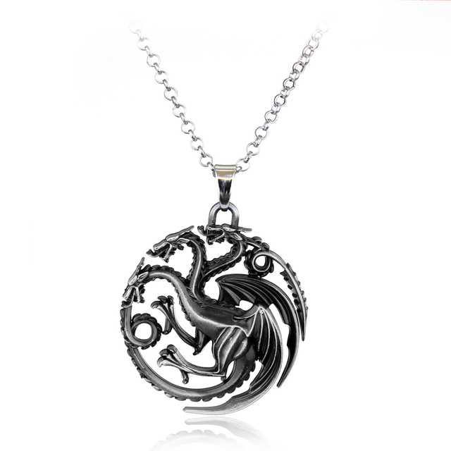 Three Colors Dragon Pendant Game of Thrones Necklace Jewelry