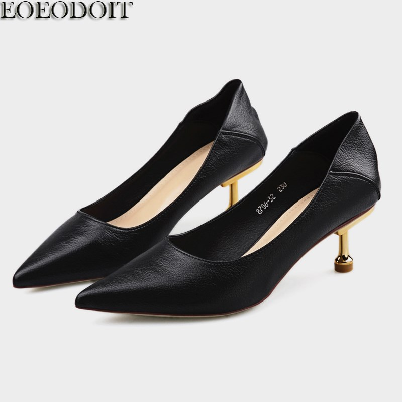 EOEODOIT Leather Pumps Shoes <font><b>Women</b></font> Med Thin <font><b>Heel</b></font> Shoes <font><b>Summer</b></font> Autumn Slip On Pointed Toe Metal <font><b>Stiletto</b></font> Low <font><b>Heels</b></font> <font><b>Casual</b></font> Pumps