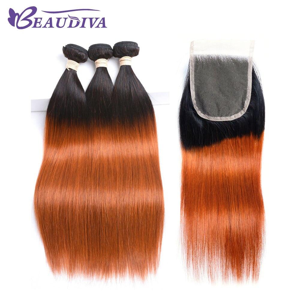 Beaudiva Pre-Colored Ombre T1B/350 Peruvian Straight Hair Bundles & Lace Closure 3 Bundles 4 Pcs/Lot Human Hair