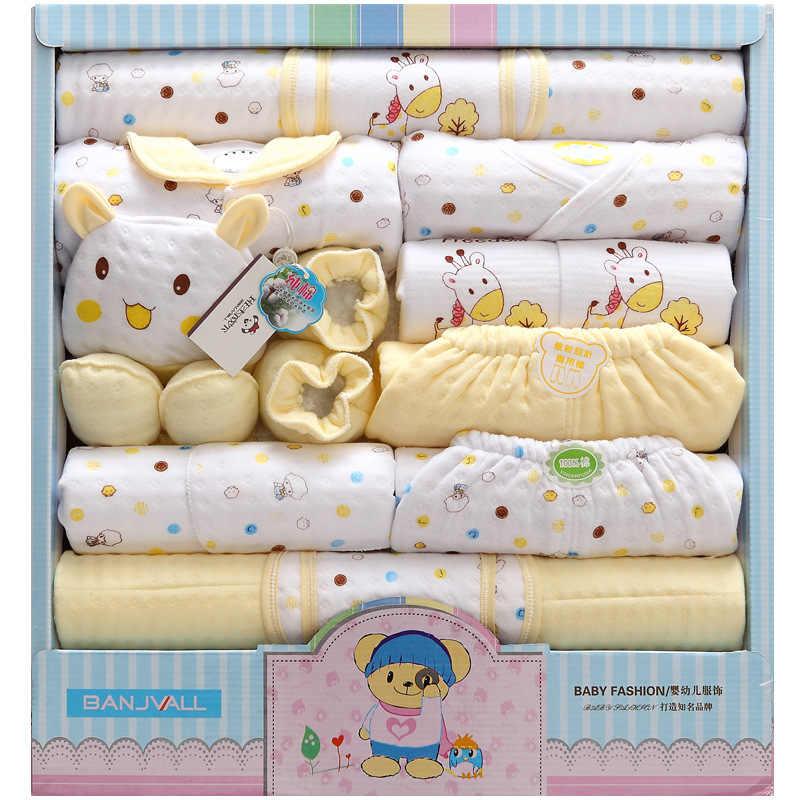 Ropa de niña recién nacida de 18 piezas, traje infantil de algodón de 100% de invierno, conjunto de ropa de niño, trajes, pantalones, ropa de bebé, gorro, ropa de babero