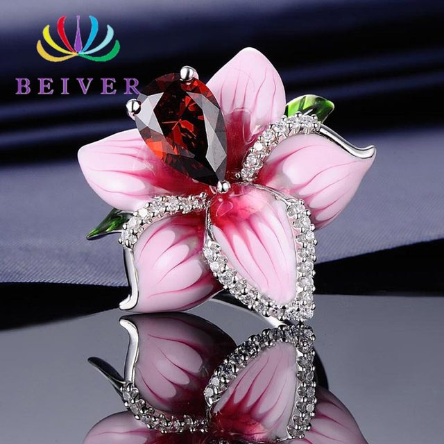 Beiver Exquisite Peach Blossom Ring Pink Flower Ring for Women Size 6/7/8/910 Engagement Wedding Jewelry Charm Decorations