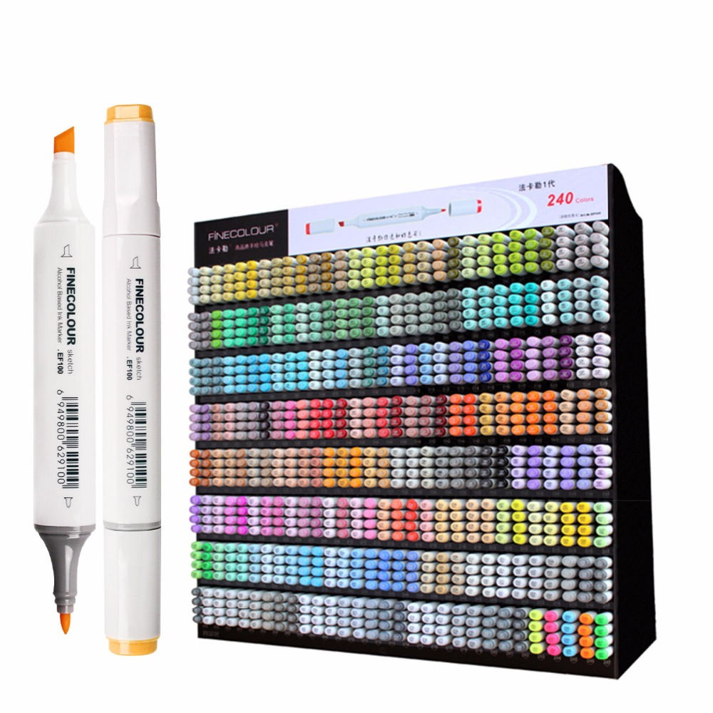Finecolour EF100 عالية الجودة برأسين رسم احترافي رسم فني علامات للوازم المدرسية المكتبية متعددة الوظائف