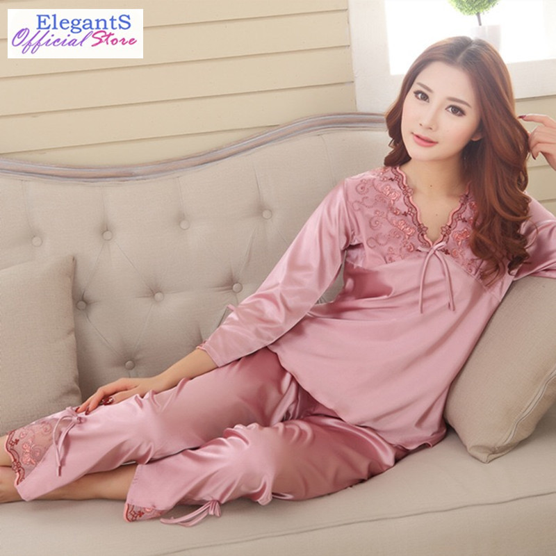 2019 Summer Women Long Sleeved   Pajamas     Set   Lace Floral Sexy Silk Satin Pyjamas Lady Pijama Spring Sleepwear Homewear Nightgown