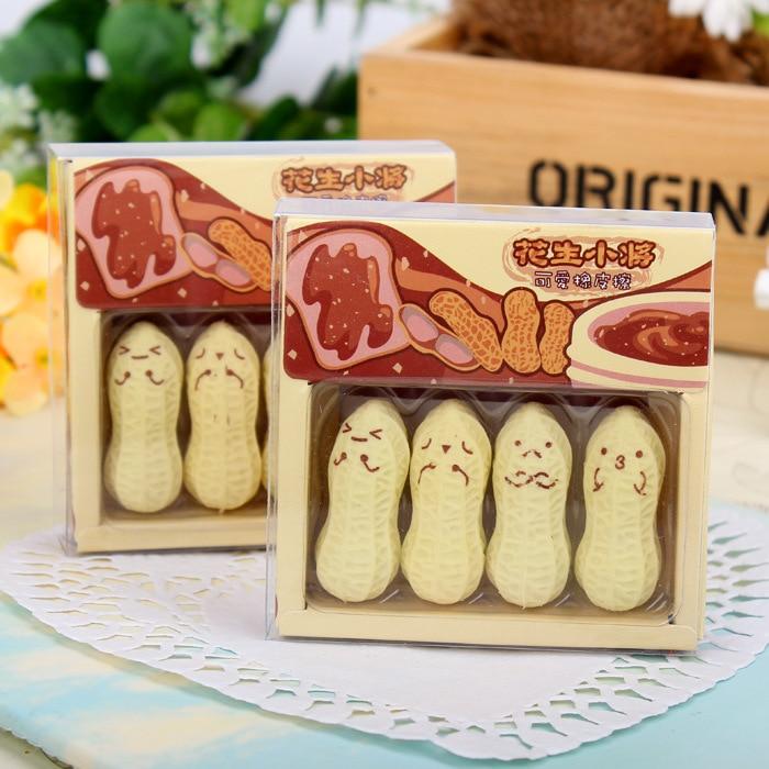 4 Pcs/pack New Cute Rubber Eraser Peanut Lovely Cartoon Kawaii Korean Stationery For School Supplies Of Kids Children