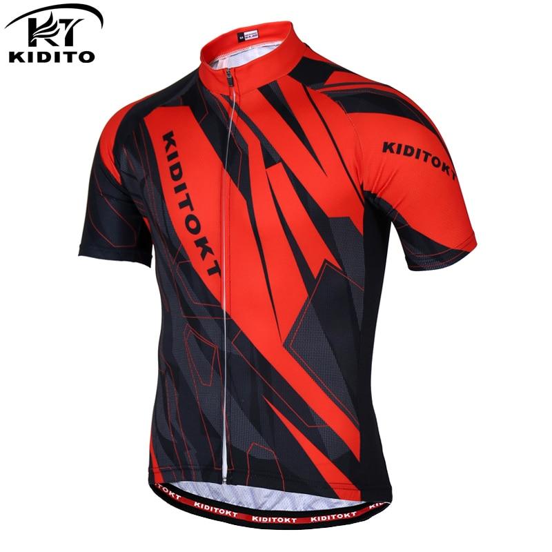 Prix pour Kiditokt 100% polyester à séchage rapide à vélo jersey d'été vtt vélo clothing ropa bicicleta maillot ciclismo vélo vêtements porter