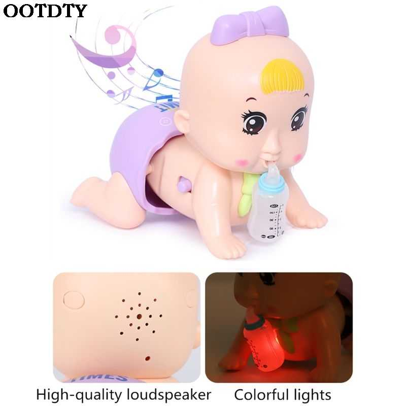 Early Education Electric Baby Doll Singing Crawling Light Up Call Mom And Dad Baby Toy Girl Toy 0-3 years