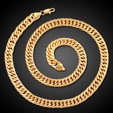 2 Sets Cuban Men Necklaces Heavy Metal Stripe Plated Copper Male Bracelet Choker Simple Hip Hop Fashion Personality Punk Jewelry