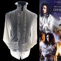 Редкие MJ Майкл Джексон Призрак Белый Ретро Англия Стиль Reyon Поплин Классические Рубашки скелеты Вечернее Платье