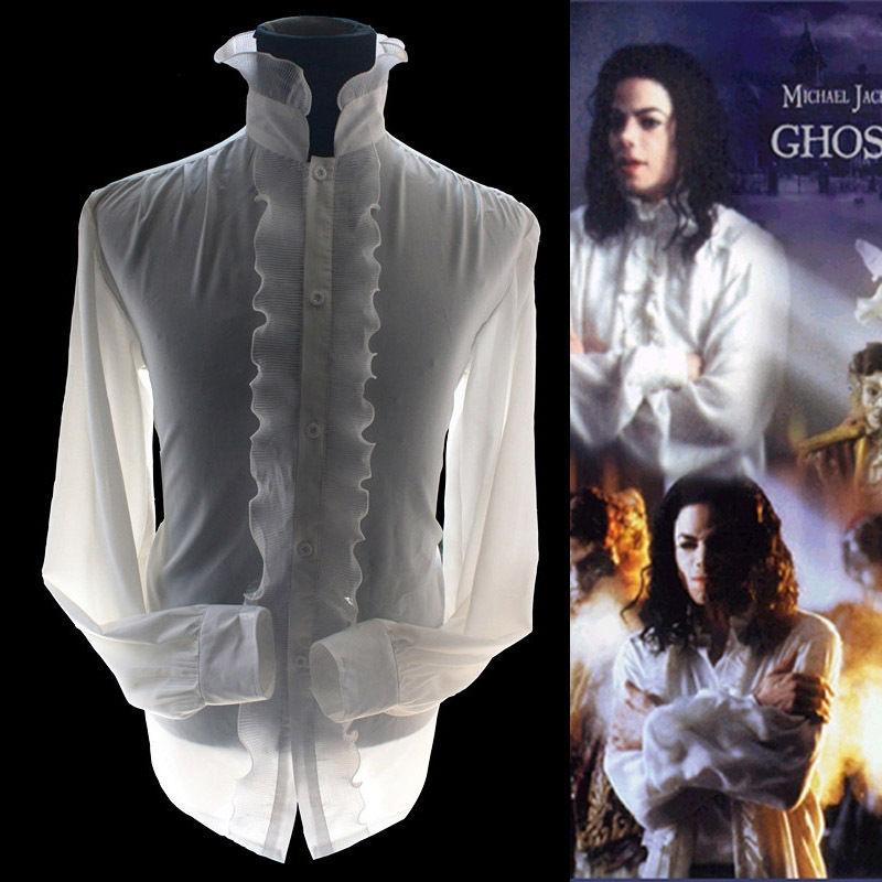 Rare MJ Michael Jackson The Ghost Bianco Retro Style Inghilterra Reyon Popeline Camicia Classica scheletri Vestito Convenzionale