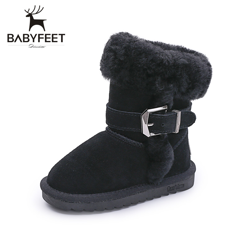 babyfeet children snow boots girl boots winter warm velvet booties princess shoes  baby cotton boots kids ankle shoes chaussure
