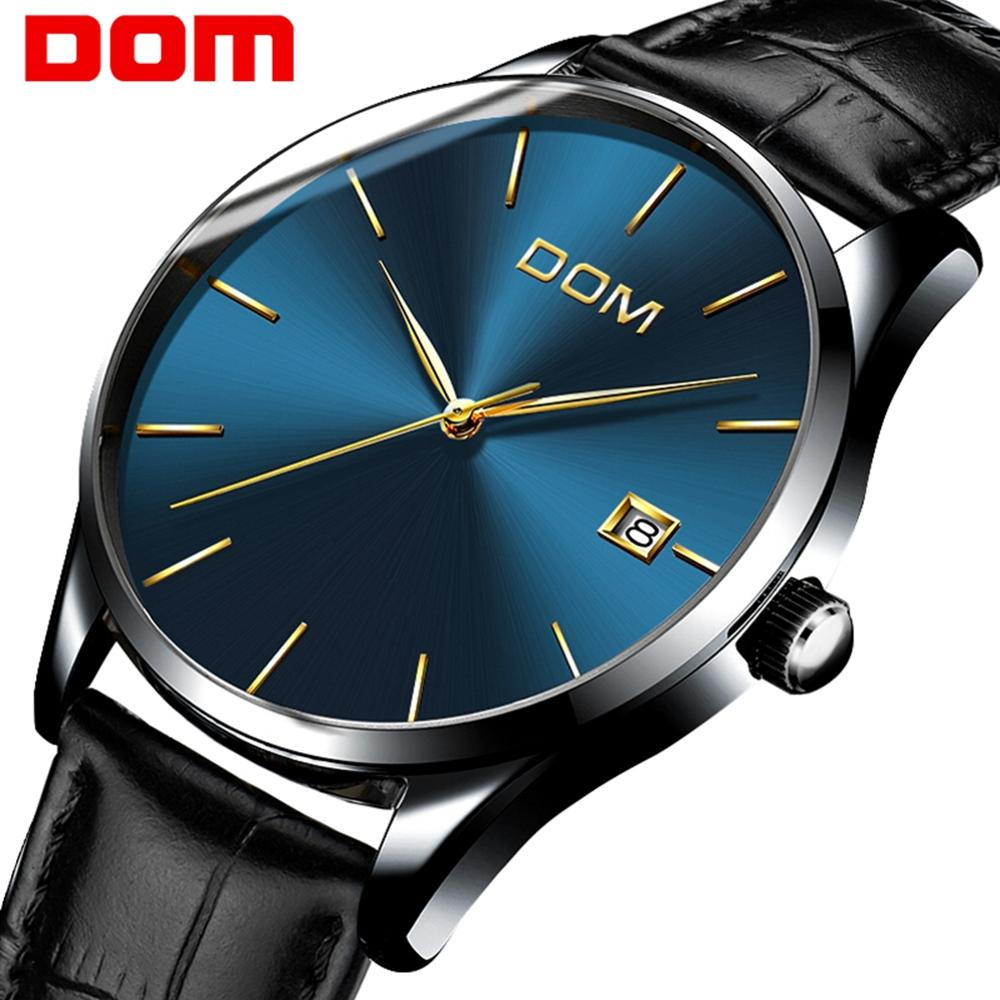 DOM Men's Watches Simple Blue Dial Watch Genuine Leather 30M Waterproof Clock Man Quartz Watches Men Fashion Watch M-11BL-2M