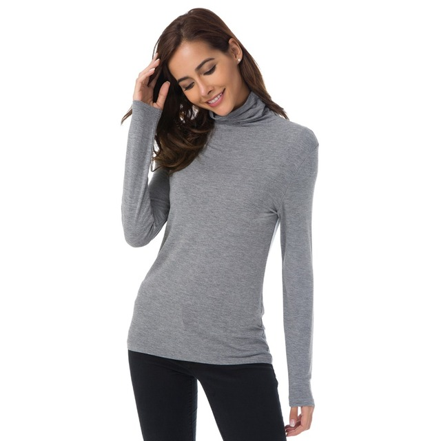 AMII Womens Soft Tees Solid Modal Turtleneck Long Sleeve T-Shirts Undershirt