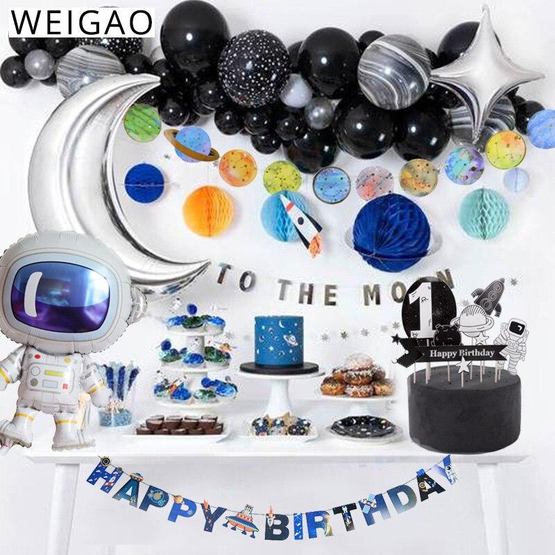 Набор одноразовой посуды WEIGAO, декор для вечеринки в космосе, планеты, галактики, ракета, астронавт, космос, детский день рождения