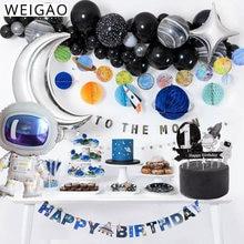 Weigao decoração para festa infantil, kits de talheres descartáveis planeta espacial externa galaxy para decoração de festa de aniversário