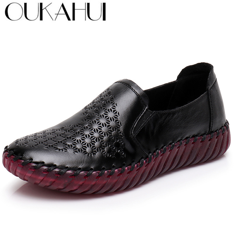 87a9a8785e8ab Aliexpress.com : Buy OUKAHUI Summer Hollow Out Handmade Shoes Woman Genuine  Leather Soft Bottom Comfortable Breathable Flat Casual Leather Shoes Flat  ...