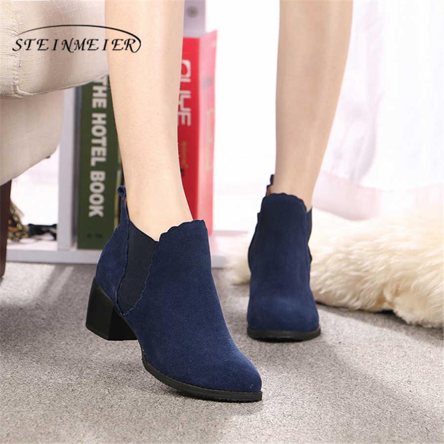 Hakiki inek süet deri kadın chelsea ayak bileği kış daireler Boots rahat kaliteli yumuşak ayakkabı marka tasarımcısı el yapımı 2020
