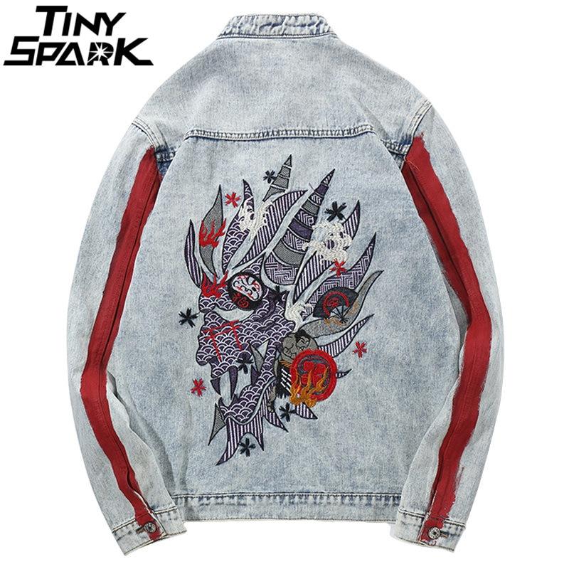 Harajuku broderie Dragon veste Jeans Streetwear Hip Hop hommes Vintage lavé veste en jean 2018 automne rouge rayé vestes en Denim-in Vestes from Vêtements homme    1
