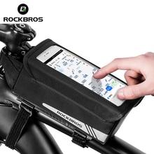 a4b05031545 ROCKBROS los 6,2 pulgadas tubo bicicleta pantalla táctil ciclismo marco bolsa  MTB bicicleta unilateral tapa Flip fuerza magnétic.