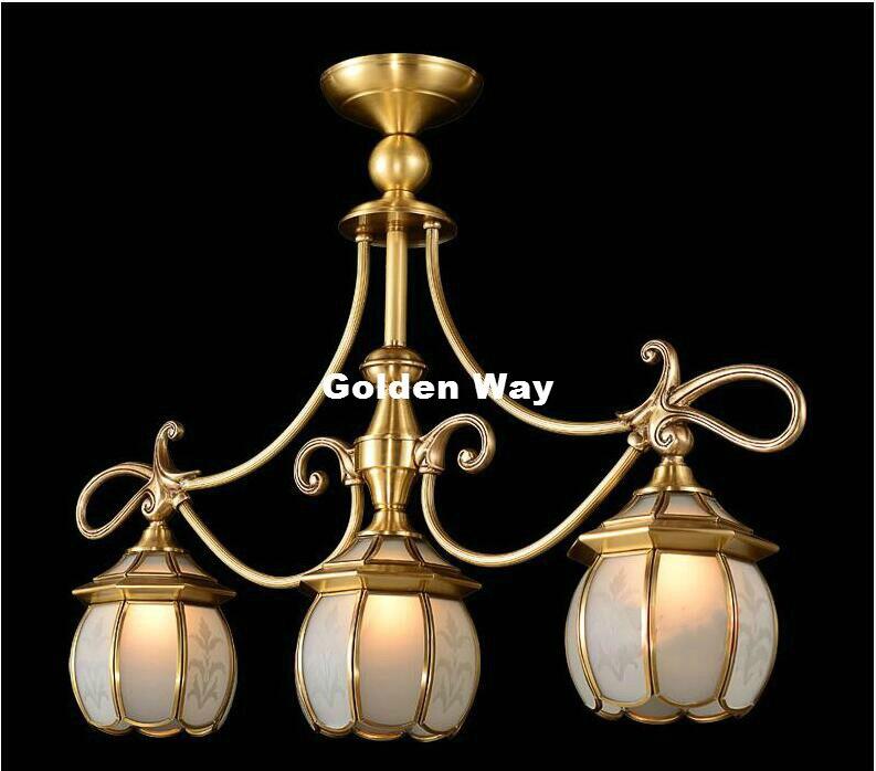 Free Shipping Glass Brass Pendant Lights Golden Bronze Pendant Lamp With E27 Bulb 110V/220V Pendant Light Hanging Lamp Fixture