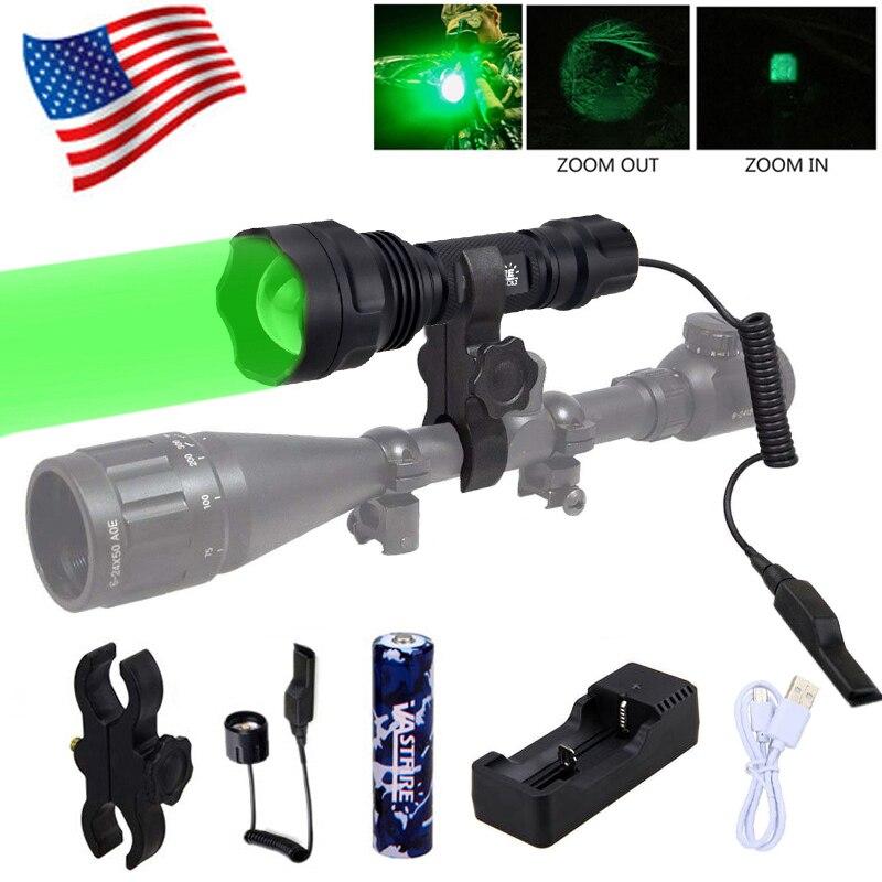 White 5000LM XM-L T6 LED USB Flashlight Predator Torch Shotgun//Rifle 18650 Lamp