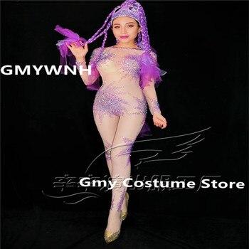 R94 Women pole dance costumes prom sexy purple bodysuit gogo rhinestone jumpsuit dj outfits performance dress clothe bar wears