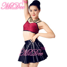 Sequins Leotard Bra Top And Short Skirt For Girls Jazz & Tap Dance Costumes Belly Dance Costumes