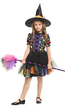 Shanghai Story Halloween children's clothing girls witch cosplay colorful dot print witch dress costume
