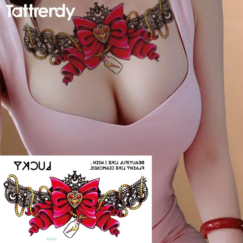 1pc New Chest Flash Tattoo Love Bow Drifting Bottle Choker Large Shoulder Arm Sternum Tattoo Henna Body/waist Paint Under Breast