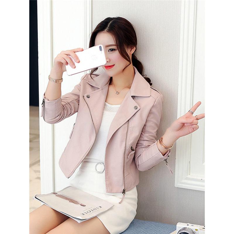 Fashion Black   Leather   Jacket women Short Slim PU Coat 2019 Spring Fall Korean Vintage Biker Jackets Pink Chaqueta Mujer f753