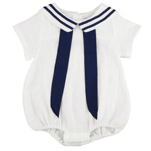 2016 Fashion Cotton Baby Girl Clothes Navy Blue White Rompers Newborn Infant Summer Clothing Body Suit Baby Boy Wear 3-18M