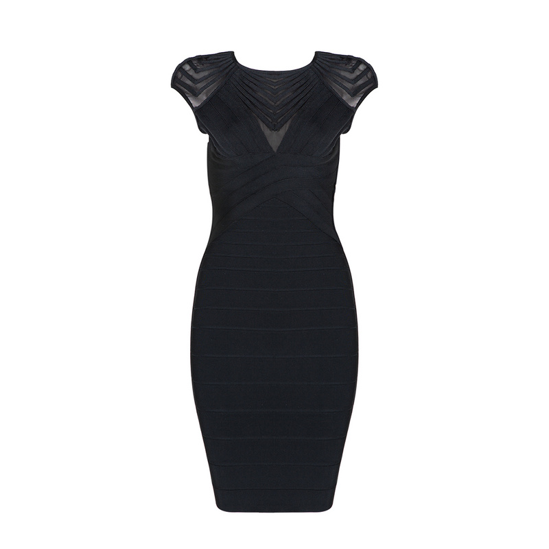 Black Cap Sleeve 2018 New Sexy Rayon Evening Party Knee Length Bandage Dress High Quality