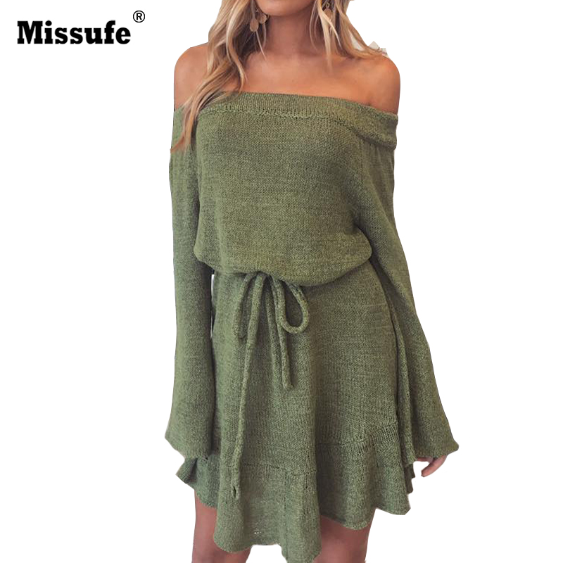 Missufe Knitted Casual Shift Autumn Dress Women Flare Sleeve Off Shoulder Tunic Elastic Waist Lace Up