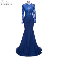 Royal Blue Lace Mermaid Prom Dresses 2018 Long Sleeves Sexy Long Party Dresses Sheer Back Black Girl Dress Evening Gowns