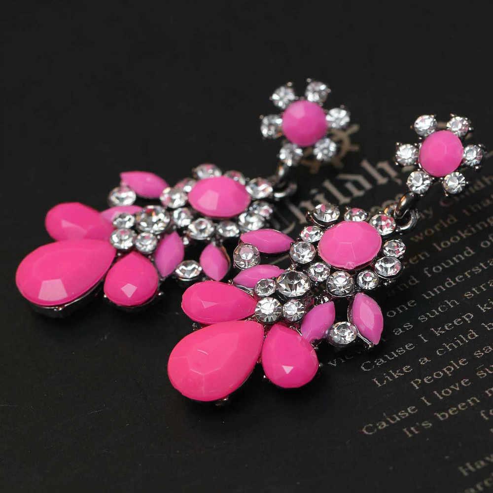Perempuan bunga busana anting baru kedatangan merek manis logam dengan permata kristal anting anting untuk perempuan gadis E308 ~ 9