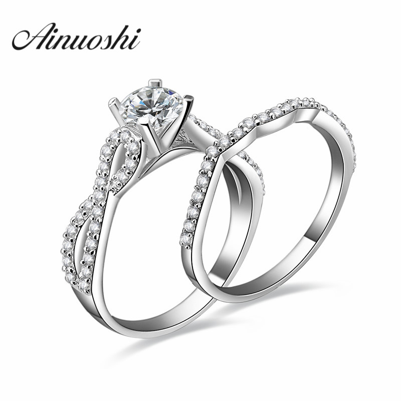 AINOUSHI 925 Sterling Silver Round Cut Bridal Ring Set Women Wedding Ring Engagement Band Bridal Sets Silver Jewelry Accessaries