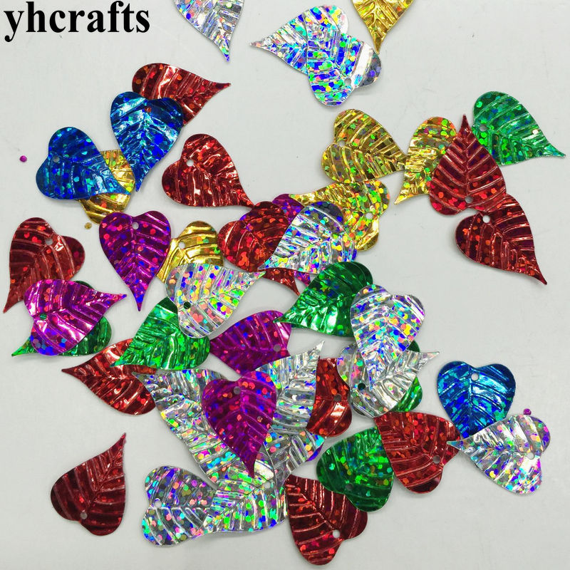 20gram/Lot 15x20mm Heart Leaf With Hole Sequin Craft Material Kindergarten Crafts Intelligence Creative Activity Item DIY Toys