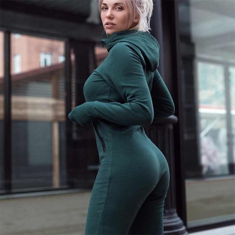 Зима зеленый Для женщин комбинезоны 2019 с длинным рукавом с капюшоном наряды молнии хлопок сексуальная одежда для бега повязки Облегающий комбинезон