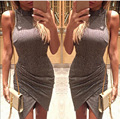 2016 Plus Size Sexy Women Night Club Dress Sleeveless Turtleneck bodycon Summer Rib Lady's Party Dress Vestidos 800095