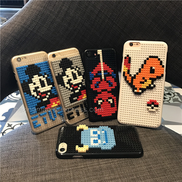 Interesting Legos Cartoon Jigsaw <font><b>puzzle</b></font> DIY case For Iphone 6 7 plus case Half a pack hard cover for iphone 7 6s coque