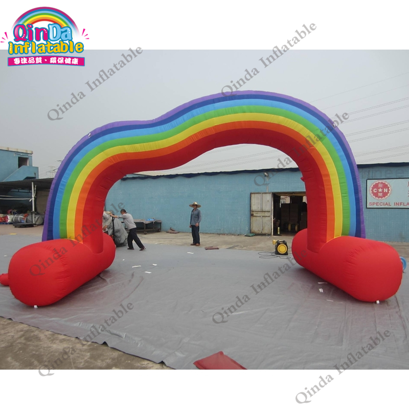 10m span inflatable rainbow arch with free air blower ,inflatable arch tent for event