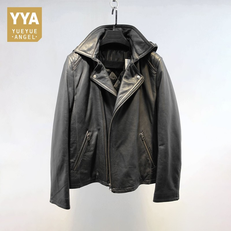Men Vintage Genuine Leather Jackets Casual Hooded Black Motorcycle Biker Sheepskin Real Leather Coats Male Autumn Overcoat New