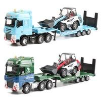 KAIDIWEI 1:50 Trailer Bulldozer Toy Alloy Excavator Transporter Construction Truck Collectible Models Trucks Kids Toys