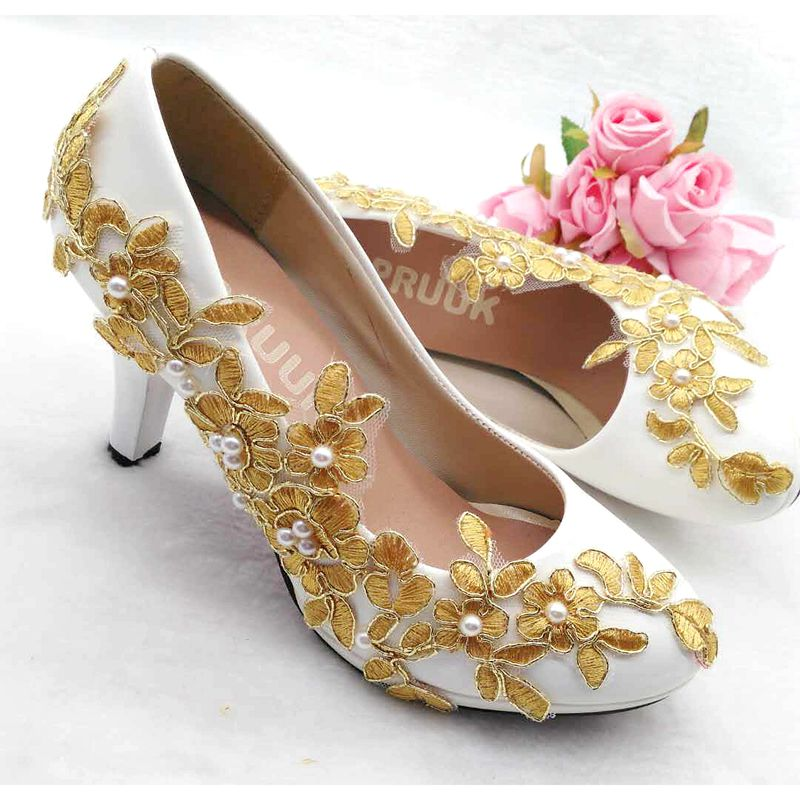 812e62cbdc72 Gold wedding shoes woman platforms gold lace ivory pearls white brides  wedding pumps shoes lady round toes proms party shoe-in Women s Pumps from  Shoes on ...