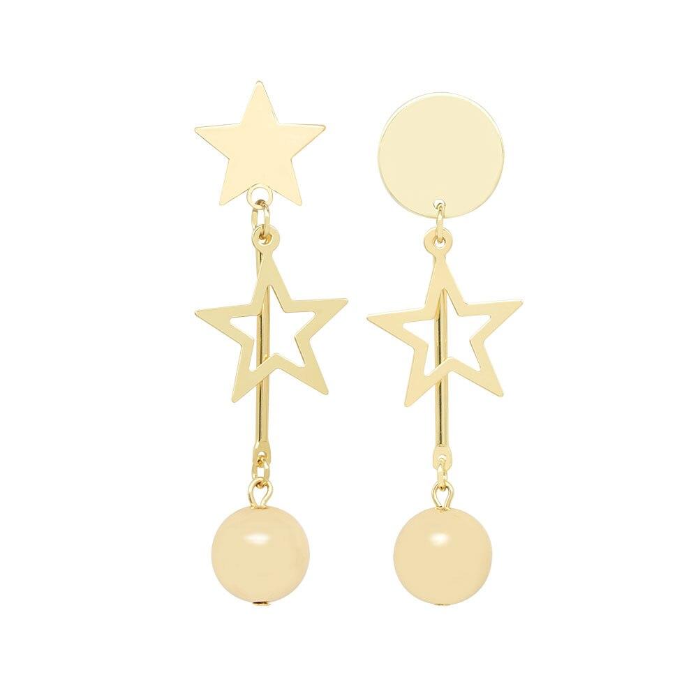 Korean Fashion Metal Temperament Hollow Out Gold Asymmetric Star Ball Women Dangle Earrings