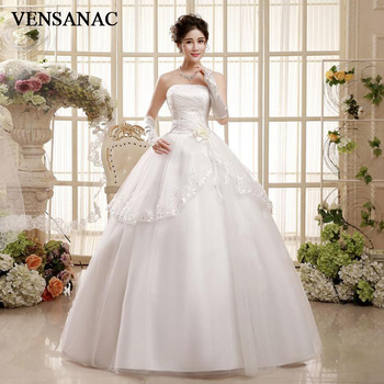 VENSANAC Sequined Pleat Strapless Tiered Lace Appliques Ball Gown Wedding Dresses 2018 Flowers Backless Bridal Gowns