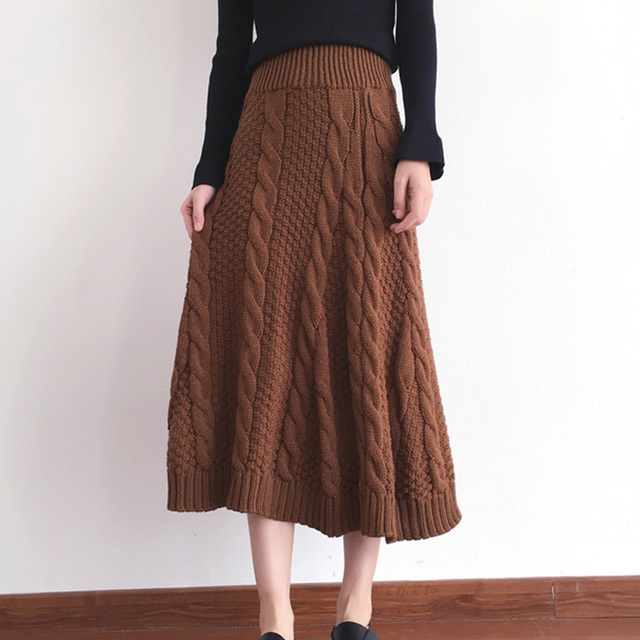 SETWIGG Autumn & Winter Thick Twist Knit Pattern Long Skirts Big Stretch Twist Woven Knitted Thick A-line Mid-calf Skirts