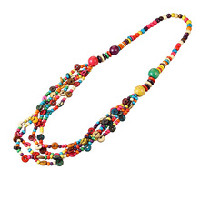 Wholesale Round Wooden Beaded Strand Necklace Multicolor Coconut Shell Multi Layered Handmade Knitted Bohemian Jewelry